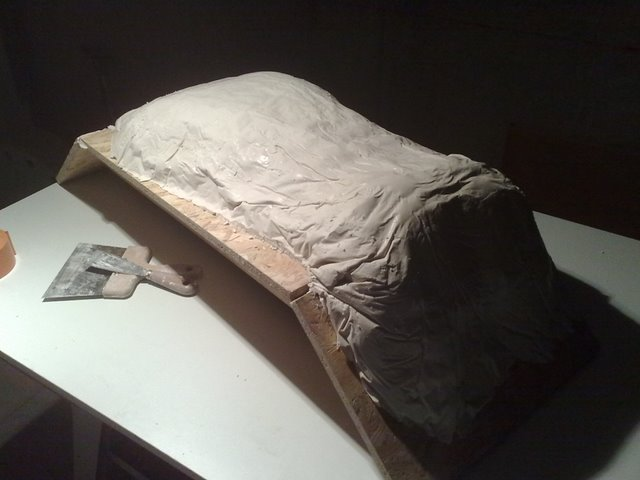 Zelo : Moule du siège en plâtre